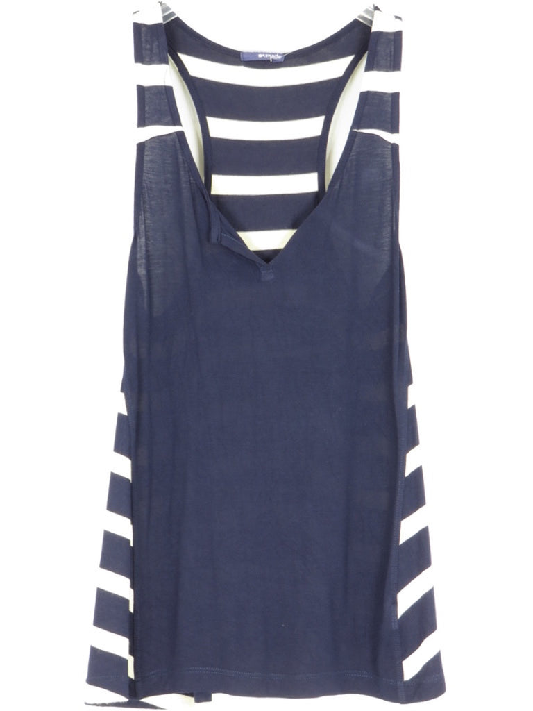 LA MADE Women Blue White Stripes Sleeveless Loose Fit Tank Top Shirt Size S