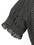 JOIE Women Black White Polka Dots Short Sleeves Button Down Blouse Top Shirt S