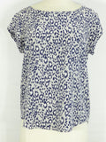 JOIE Women Animal Print Gray Blue White Loose Fit Blouse Top Shirt S