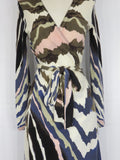 DIANE VON FURSTENBERG Women Multi Color Pattern Knitk Wrap Dress Size S