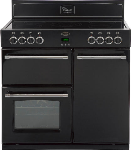BELLING Country Range 90E Electric Ceramic Range Cooker - Black 444443387