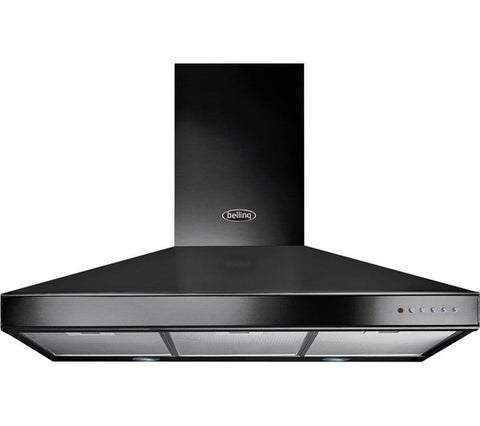 BELLING Classic Chimney Cooker Hood - Black 90cm