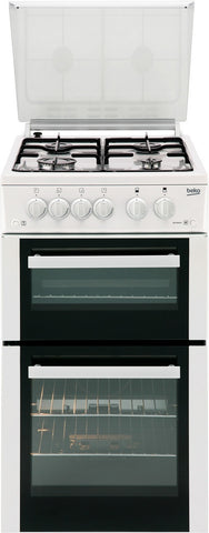 Beko BDG584W A Rated 500mm Twin Cavity Gas Cooker with 4 Burners