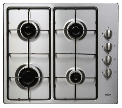 LOGIK LGHOBX12 Gas Hob Stainless Steel Automatic Ignition Side Control 4 Burners