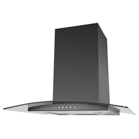 Luxair LA-60-ARTIS-CVD-BLK 60CM Curved Glass Cooker Hood - Black
