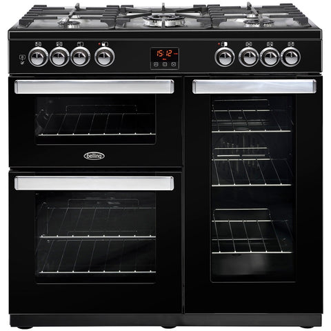 Belling Cookcentre 90DFT Black 90cm Dual Fuel Range Cooker - Black