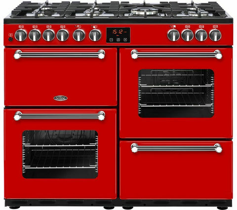 BELLING Kensington 100DFT Dual Fuel Range Cooker - Red 444444054 100cm