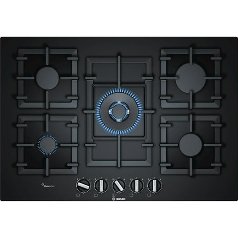 Bosch PPQ7A6B90 Serie 6 75cm Tempered Glass 5 Burner Gass Hob - Black