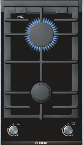 Serie 8- BOSCH PRB326B70E- 2 burner domino Gas on Glass hob with brushed steel trim