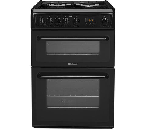HOTPOINT HAG60K 60 cm Gas Cooker - Black LPG Convertible