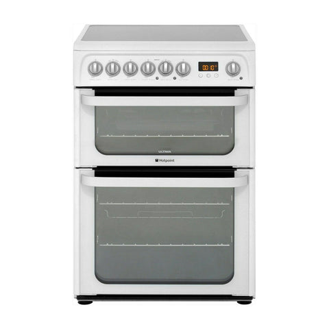 Hotpoint HUE61PS 60cm Wide Double Oven Electric Cooker With Ceramic Hob