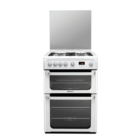 Hotpoint Ultima HUG61P 60cm Gas Cooker Variable Gas Grill White LPG Convertible