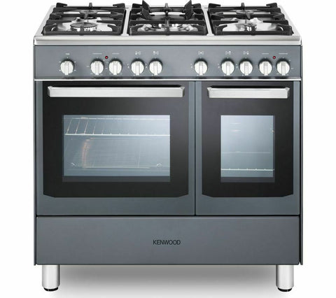 KENWOOD CK406SL 90cm Dual Fuel Range Cooker Slate Grey Chrome LPG Convertible