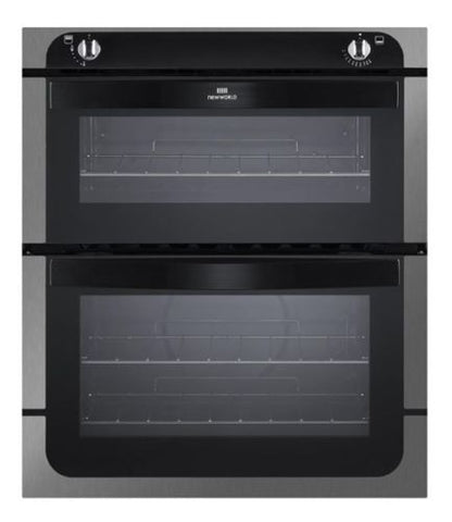 New World NW701G Built-under Double Gas Oven, Stainless Steel and Black