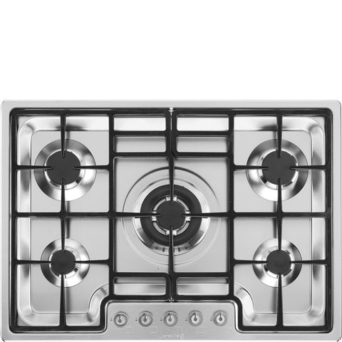 Smeg PGF75-4 - 5 Burner 72cm Gas Hob - Stainless Steel