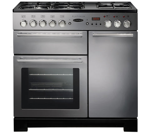 RANGEMASTER Platinum 90 Dual Fuel Range Cooker - Stainless Steel & Chrome