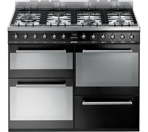 SMEG SYD4110BL - 110cm Dual Fuel Range Cooker – Black & Stainless Steel