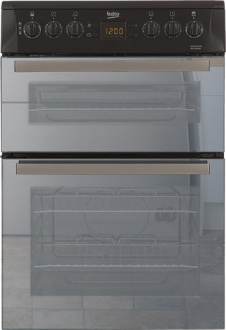 Beko BDVC665MK Mirrored Glass  60cm Double Oven Electric Cooker