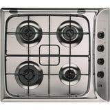 Indesit PIM640ASIX 60cm Gas Hob in Stainless Steel, Flame Safety Device