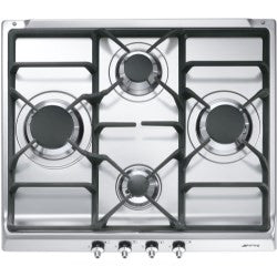 Smeg SE60SGH3 Classic 60cm Gas Hob in Stainless Steel with Cast Iron Pan Supports