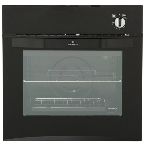 New World NW601G Steel Single Built Under Gas Oven - Black