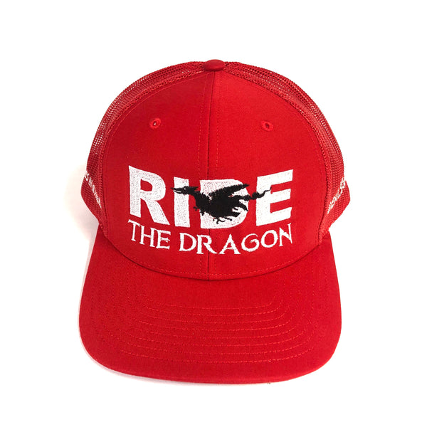 Ride Hat - Red / White w/ Black Dragon