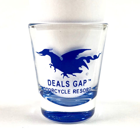 Shot Glass Dragon Clear Blue