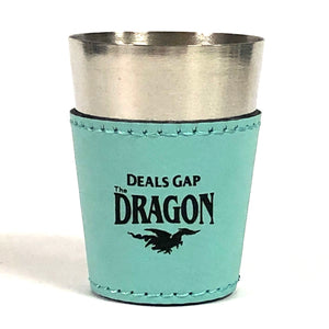 Shot Glass Leather Teal