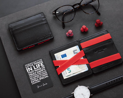 Jaimie Jacobs magic wallet Flap Boy Slim perforated leather black red