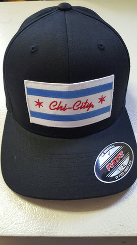 Chi-City Flag Black Flexfit Fitted Baseball Cap