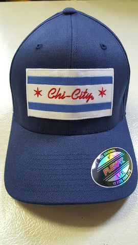 Chi-City Flag Navy Blue Fitted Baseball Cap