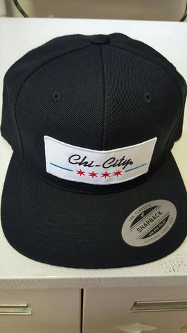 Black Chicago Flag Retro Snapback