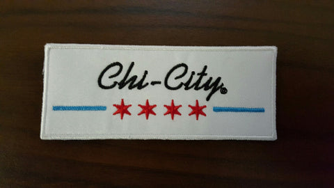 "Chi-City Chicago Retro Flag Patch - 4"" X 1.5"""