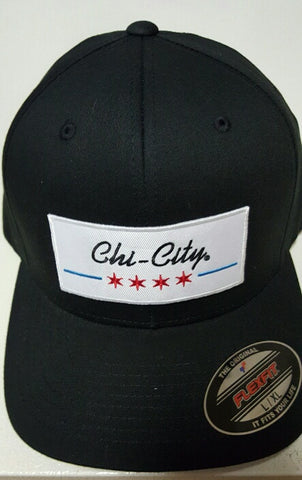 Black Chicago Flag Retro Fitted