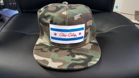 Jungle Camouflage Chicago Flag Snapback