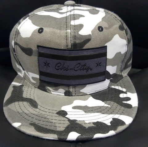 Murdered-Out/ Blackout Winter Camouflage Snapback