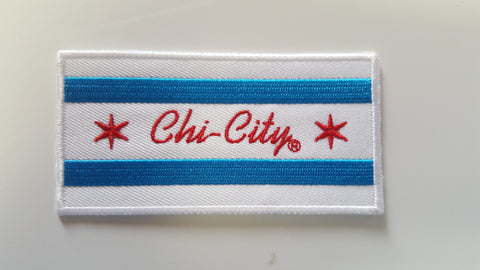 "Chi-City Flag Iron Patch Patch 4"" X 2"""