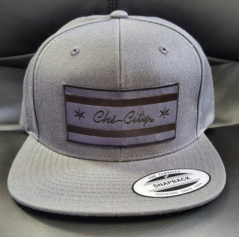 Murdered-Out Chicago Flag Gray Snapback