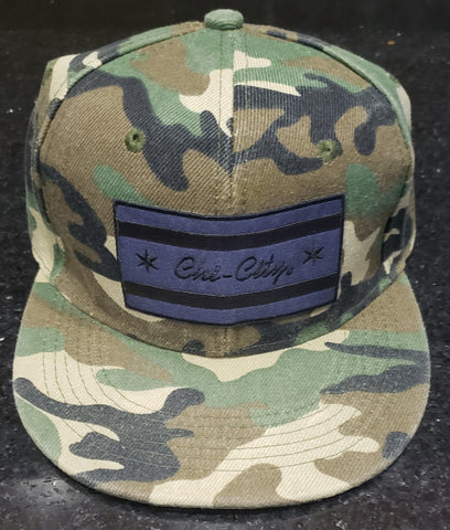 Murdered-Out Chicago Flag Jungle Camouflage Snapback
