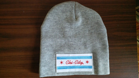 Chi-City Flag Grey Winter Beanie