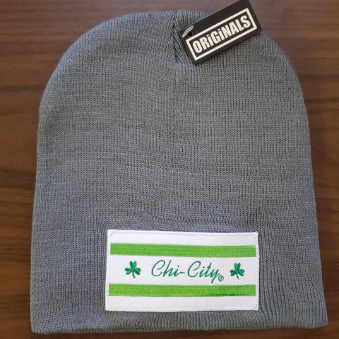 Irish Pride Chicago Flag Winter Beanie Gray