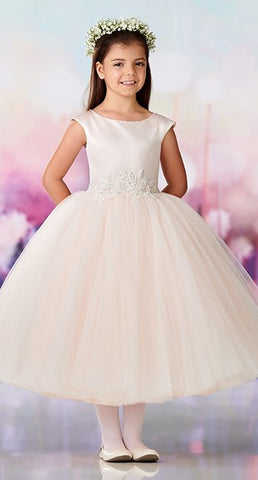 119383 Satin and tulle tea-length full A-line Dress