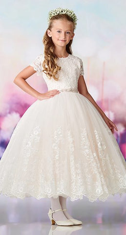 119386 Satin, tulle and lace appliqué tea-length full A-line dress