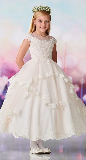 119388 Satin, tulle and re-embroidered lace appliqué tea-length full A-line dress