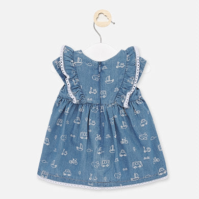 1854 Short sleeved Indigo Dress