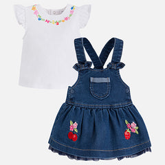 Denim dungaree skirt set