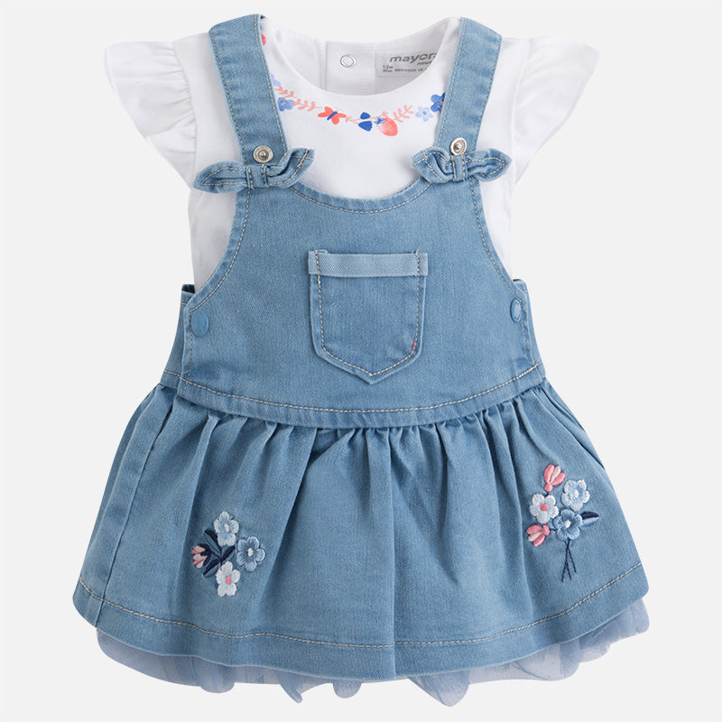 Denim dungaree skirt set 1872