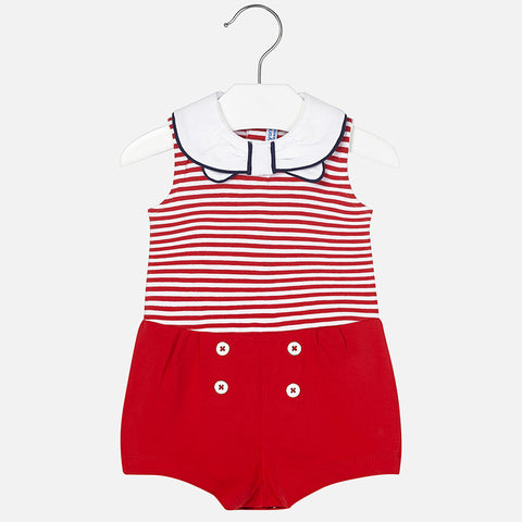 Baby girl knitted striped romper 1888