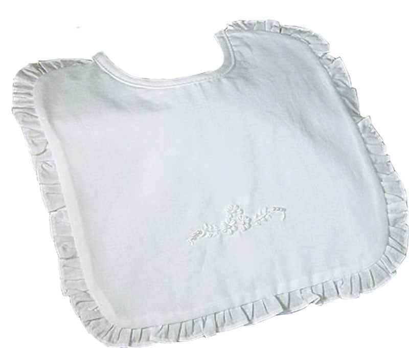 Cotton Embroidered Bib with Ruffles