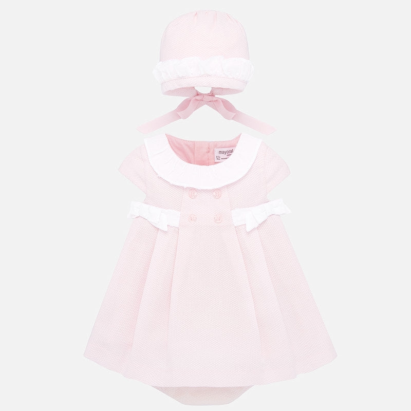 1857 Three Piece Pink Bonnet Dress
